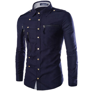 New Arrival Spring/Autumn Men Long Sleeve Cargo Shirt Casual Slim Fit Fashion Epaulet Double Pocket Mens Dress Shirt M L XL XXL-geekbuyig