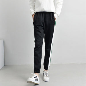Spring Winter Sweatpants Women Casual Harem Pants Loose Trousers For Women Black Striped Side Sweat Pants Female Plus Size S-XXL-geekbuyig