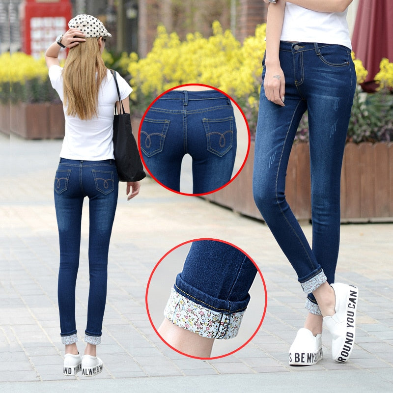 6 EXTRA LARGE Jeans Women Models Two Cuffs Worn Jeans Female Casual Trousers Pencil Pants Jeans Woman High Waist Jeans Plus Size-geekbuyig