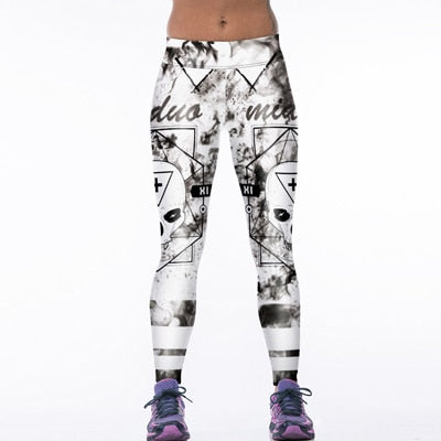 Creative Funny! 3D Tiger Print White Leggings Women Fitness Legging Sexy New12 Styles Stretch Breathable Wicking Leggign Leggins-geekbuyig