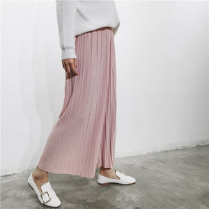 H.SA Women Wide Leg Pants Capris Summer Leggings black White Pink Pleated Cool Ladies Loose Pants Pleated Pantlone Femme 2017-geekbuyig