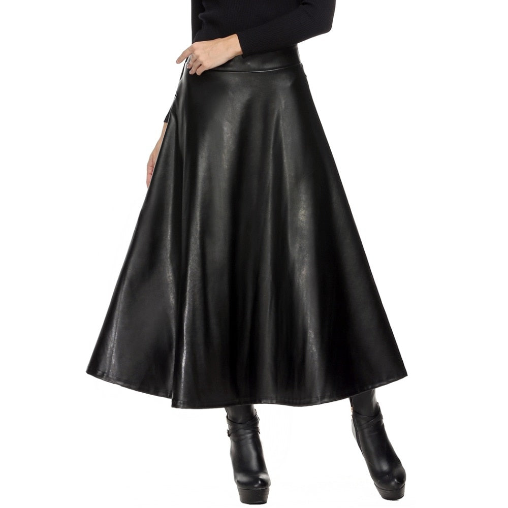 Women Skirt Folds PU Leather Skirt England Style Vintage Pleated Skirt Long Casual Winter Plus Size XXL deri etek saias longa-geekbuyig