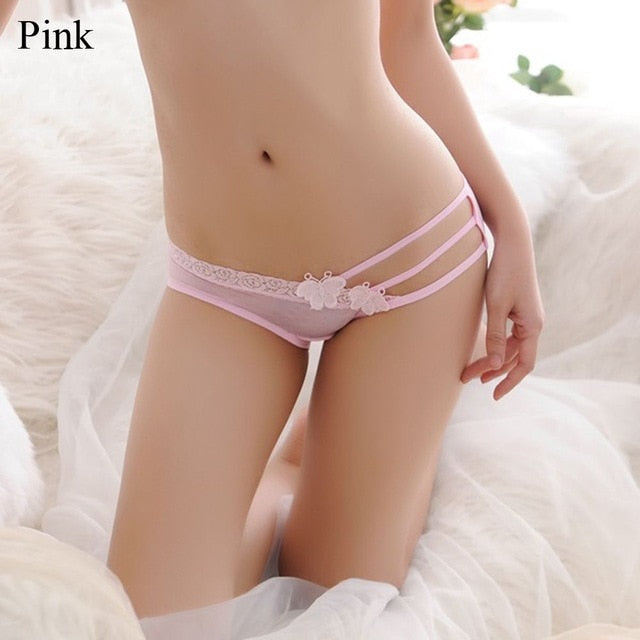 Charming Women Lace Underwear Sexy Panties Crotchless Thongs Floral G-string Butterfly Low Waist-geekbuyig