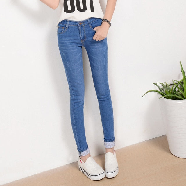 Plus Size 25-36 Jeans Women Two Cuffs Worn Jeans Female Casual Trousers Pencil Pants Jeans Woman High Waist Jeans Korean-geekbuyig