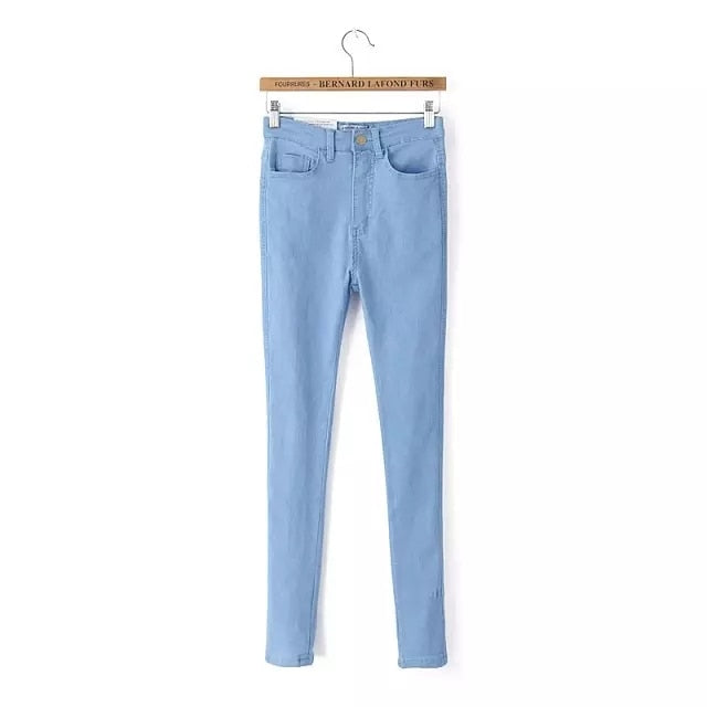 High Waist High Elastic Jeans Women Hot Sale American Style Skinny Pencil Denim Pants Fashion Pantalones Vaqueros Mujer-geekbuyig