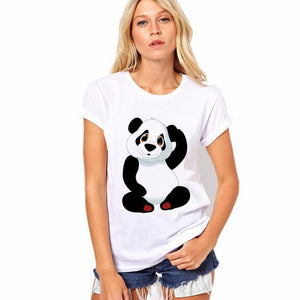 CDJLFH 2017 Selling Fashion Round Collar T Shirt Print Finger Adorable Panda Cute T-Shirt Women Summer Clothes Casual-geekbuyig