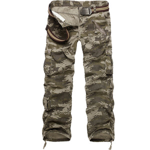 2017 Men's Loose Multi-Pocket Military Army Camouflage Pants Men Casual Cotton Straight Water washed overalls Male Trousers 40-geekbuyig