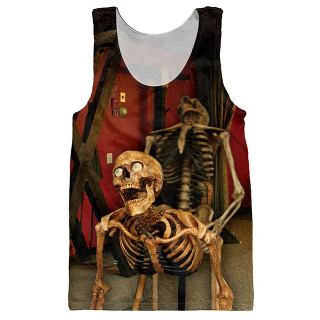 Funny Skulls Tank Tops 3D Print Bone Daddy Pattern Sleeveless Shirt Striped Vest Sexy Fashion Clothing Stringer Singlets Jersey-geekbuyig