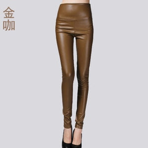 2017 New Spring Women Brand Clothing High Waist Slim Faux Leather Pants Lady Fashion Fleece Skinny PU Leather Trousers Leggings-geekbuyig