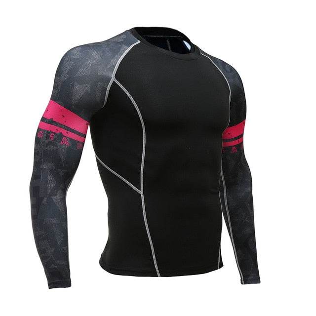 Mens Fitness Long Sleeves Rashguard T Shirt Men Bodybuilding Skin Tight Thermal Compression Shirts MMA Crossfit Workout Top Gear-geekbuyig