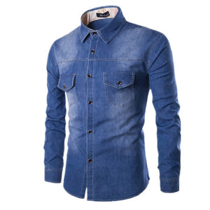 High quality men's Slim denim shirts new plus size M-6XL fashion casual wash blue long-sleeved Cargo jeans shirts Chemise Homme-geekbuyig