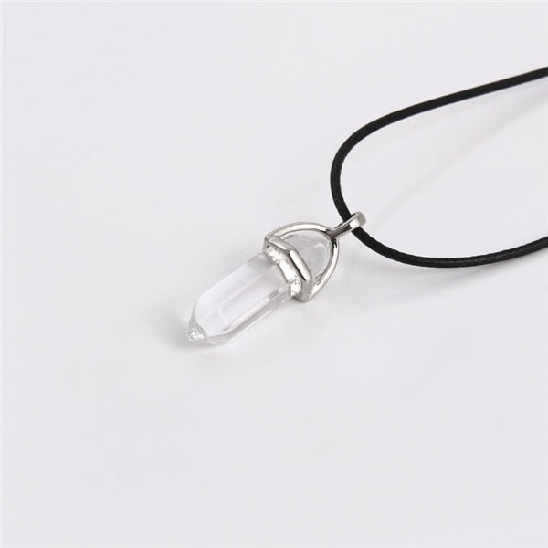 Fashion Women Vintage Crystal Bullet Natural Stone Quartz Necklace Pendant Choker Rope Chain Jewelry Bijoux-geekbuyig