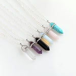 Hexagonal Column Natural Crystal Tiger Eye turquoises pendentif amethyste Stone Pendant Chains Necklace For Women Jewelry-geekbuyig