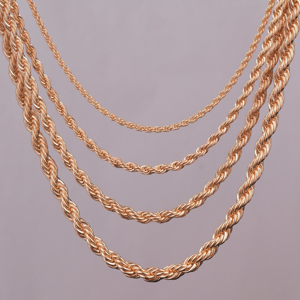"16""18""20""24"" gold rope chain necklace 2mm,3mm,4mm,5mm For pendant rope jewelry findings-geekbuyig"