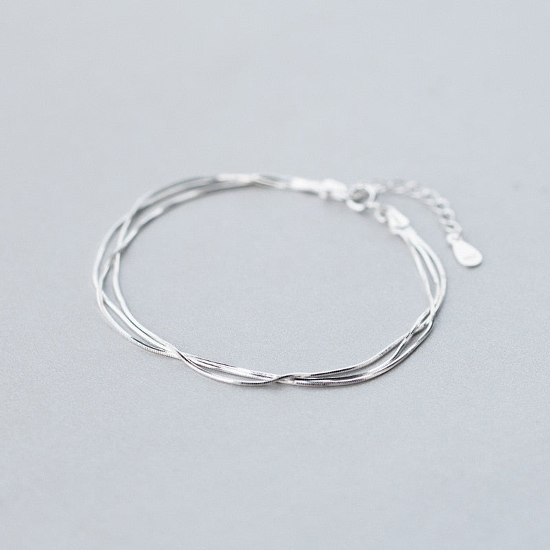 wholesale Real. 925-Sterling-Silver TRIPLE Rows multi-layers Snake Bone chain bracelet adjustable Sterling Silver jewelry LS292-geekbuyig