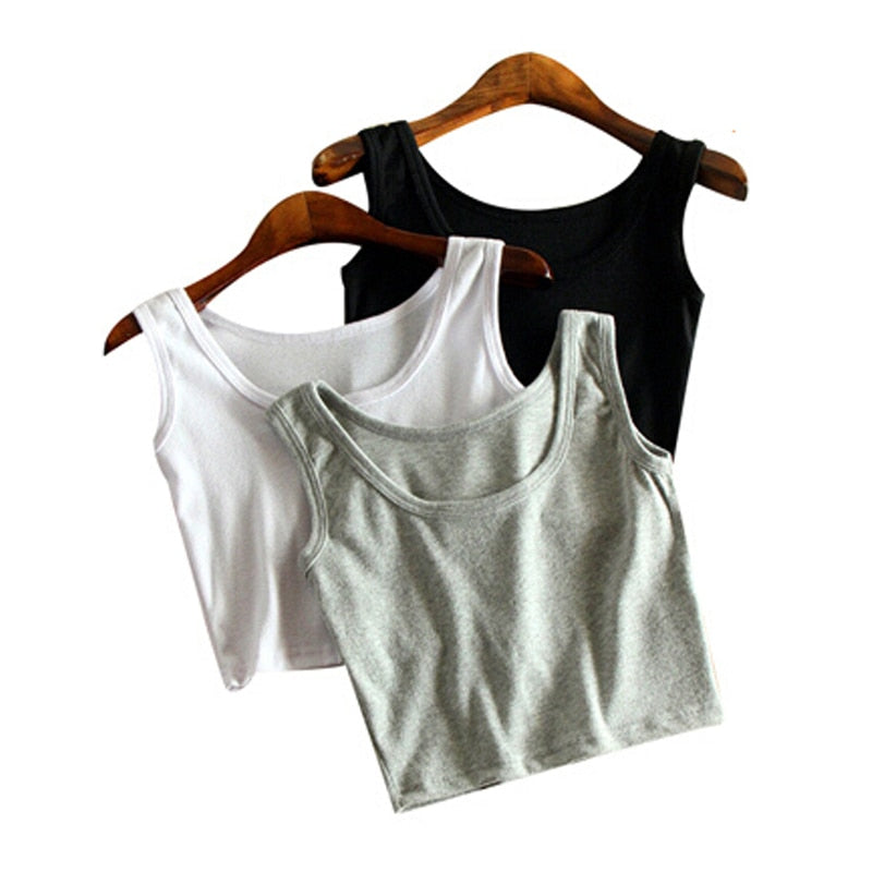 Mileegirl Summer Slim Render Short Top Women Sleeveless U Croptops Tank Tops Solid Black/White Crop Tops Vest Tube Top 7Color-geekbuyig