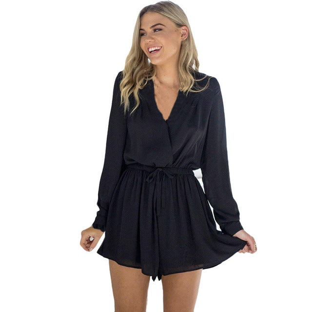 Shorts Rompers Womens Jumpsuits Summer Ladies Black Khaki Red Sexy Deep V Neck full Sleeve Solid color Casual Jumpsuit #AK9650-geekbuyig