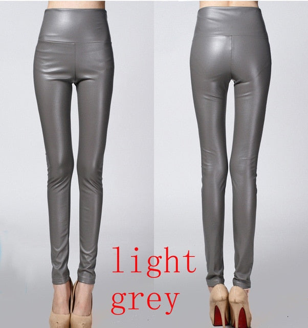 High Quality PU Leather Pants Women Winter female high waist elastic pu leather fleece stretch Slim women pencil pants-geekbuyig