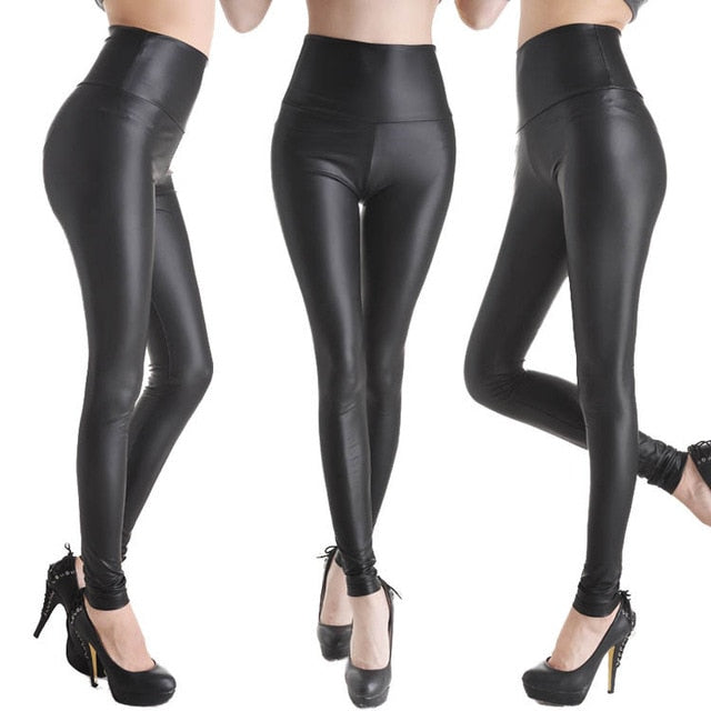 2017 New Women Sexy Leggings Faux Leather Stretch Legging High Waist Leggings Juniors Pants 4 size 21 Colors-geekbuyig