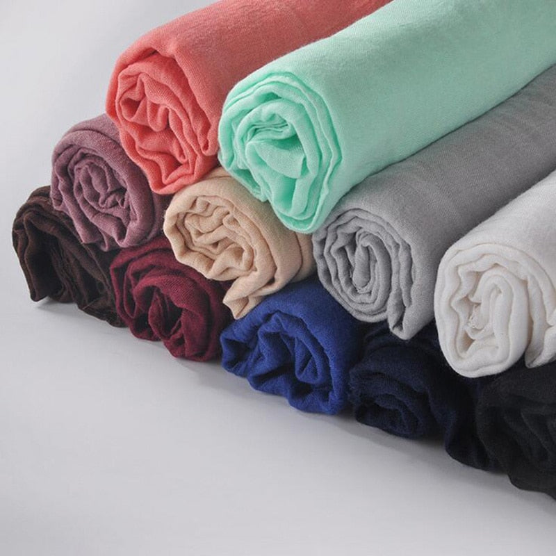 2017 Fashion Soft Cotton&Linen Blend Solid Winter Beach Scarf Women Warm Tassel Shawls and Scarves 90*180cm-geekbuyig
