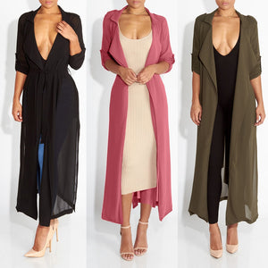 New Spring Women Maxi Dress Black Cape See Through Turn Down Collar Loose Black Dress Women Long Sleeve Chiffon Dress Vestidos-geekbuyig