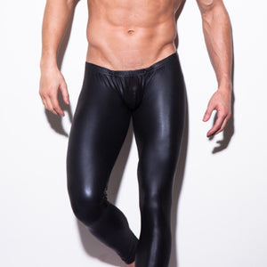 Sexy Men Skinny Faux Leather Muscle Tights Pants Body Shaper Leggings Black Leggins Male Performance Underpants Night Clubwear-geekbuyig