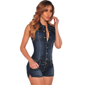 2017 Fashion Rompers Women Jumpsuit Sleeveless Turn Down Collar Slim Fit Denim Playsuits Cotton Short Pants Sexy Playsuits-geekbuyig