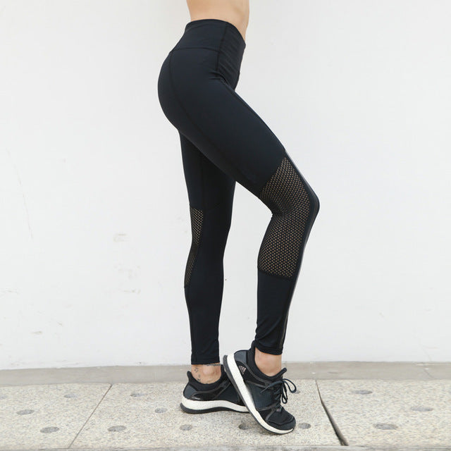 Profession Fitness Leggings Black Sexy Hollow Mesh Patchwork Splicing Slim Leggings Breathable Dry Quick Sportes Pants For Women-geekbuyig