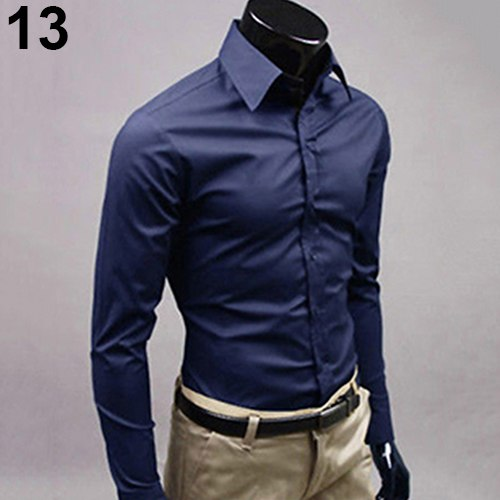 2017 New Men's Fashion Casual Solid Candy Color Long Sleeve Slim Fit Dress Shirt Top-geekbuyig