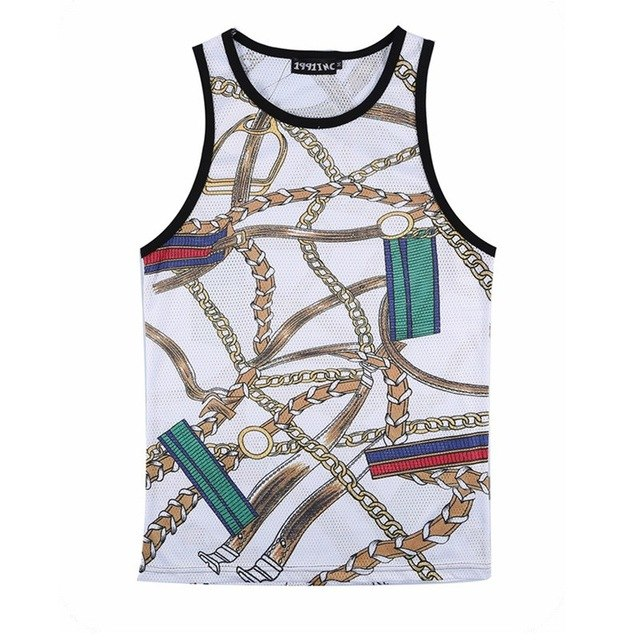New Summer Sleeveless Vest Harajuku 3D Chain Pattern Tank Tops Retro Men's Streetwear Casual Hip Hop Mesh bodybuilding Clothing-geekbuyig