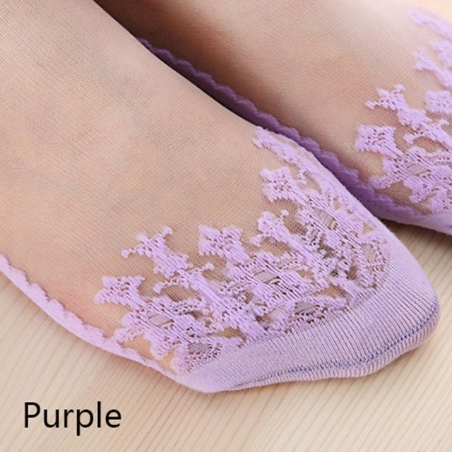 Fashion Women Socks Lace Solid Sexy Short Soft Breathable Invisble Ankle Transparent Party Travel Boat Socks 7 Colors-geekbuyig
