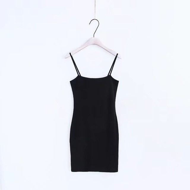 Women Basic Slip On Bodycon Dress Sexy Slash Neck Skinny Cami Dresses-geekbuyig