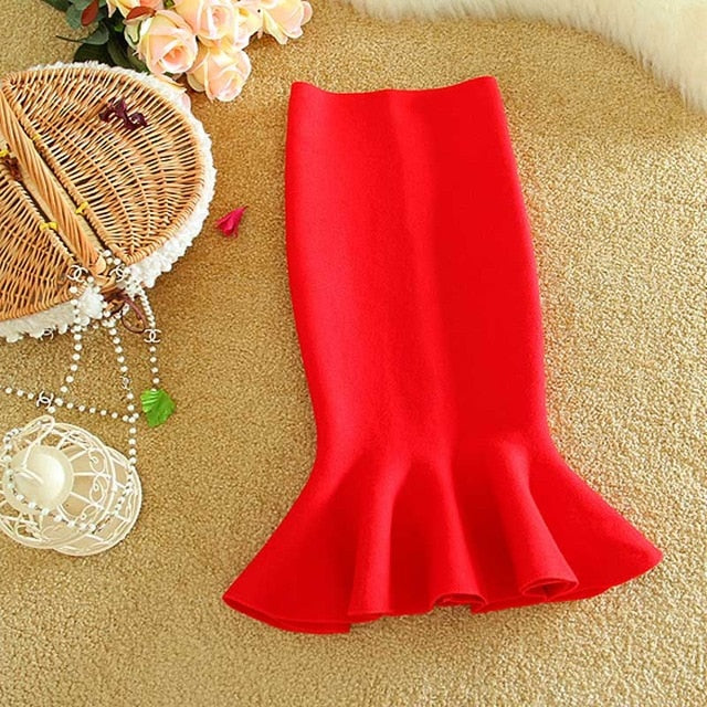 high waist skirts womens 2016 knit midi Fish Tail ruffles hip Skirt Saias Femininas FS0198-geekbuyig