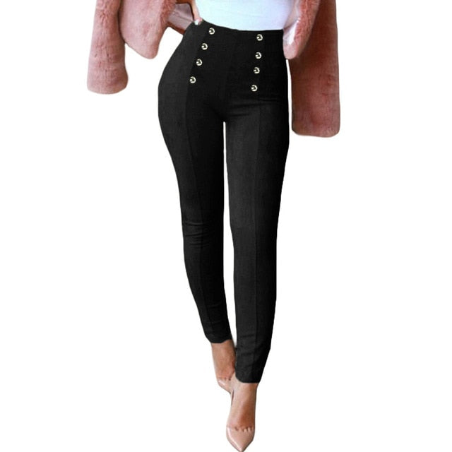 Sexy Women Slim Faux Suede Pants Push Up Trousers Solid Buttons Side Zipper Elegant Fitness Skinny Pencil Pants Pantaloni Donna-geekbuyig
