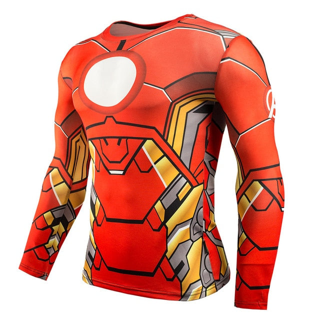 Hot Sale Fitness MMA Compression Shirt Men Anime Bodybuilding Long Sleeve Crossfit 3D Superman Punisher T Shirt Tops Tees-geekbuyig