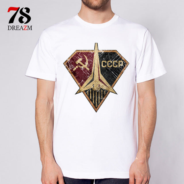 USSR CCCP t-shirt men the Soviet Union Russia space T Shirt Men Short Sleeve male TShirt Comfortable top tees-geekbuyig
