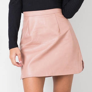 Nadafair New Arrival OL PU Leather Skirts High Waist Sexy Vintage A-Line Office Skirts Womens Solid Mini Bodycon Skirt Plus Size-geekbuyig