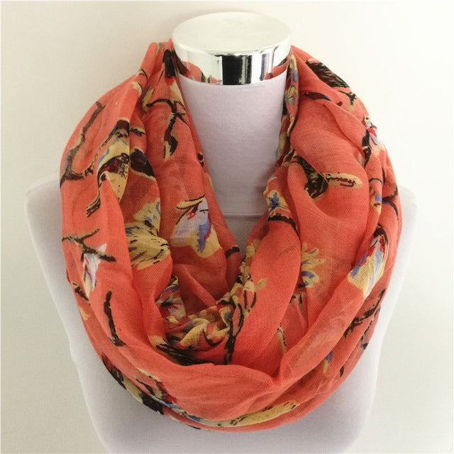 New Magpie Bird Print viscose All Match Ipek Esarp Women loop Scarves hot sale flower infinity Scarf spring Long Wraps-geekbuyig