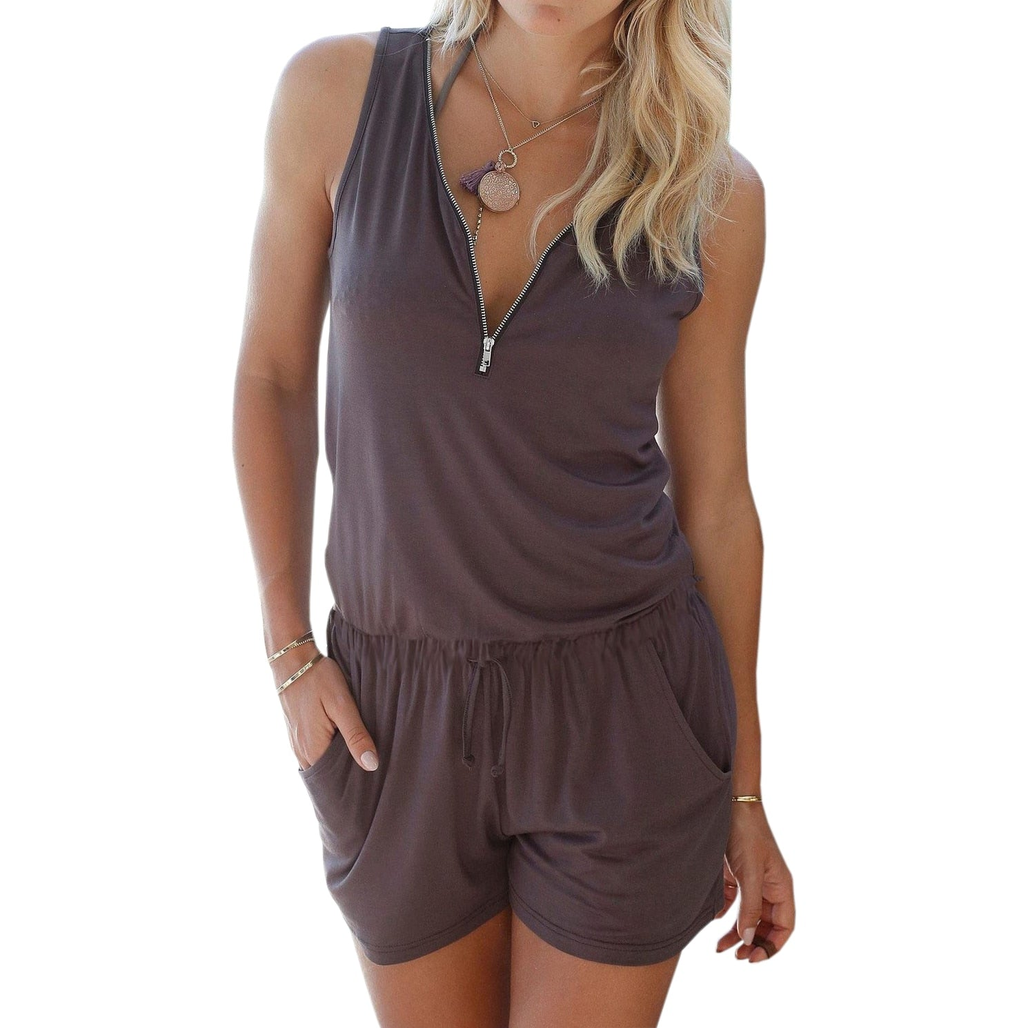 Beach Summer Playsuits Sleeveless V-neck Women Jumpsuits Shorts Solid Pockets Zipper Casual Office Playsuits Overalls 4XL GV686-geekbuyig