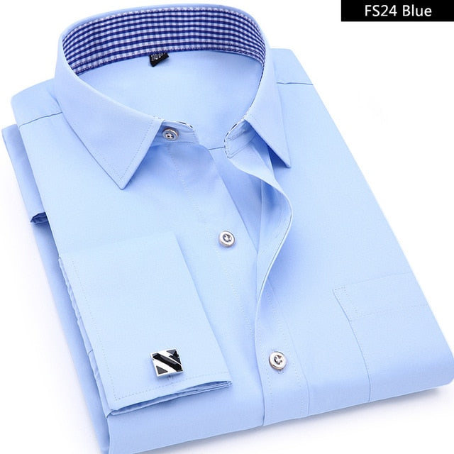Mens French Cufflinks Long sleeves Shirts Black White Blue Yellow Lapel Male Business Dress shirt Fit Wedding Party Men Clothin-geekbuyig