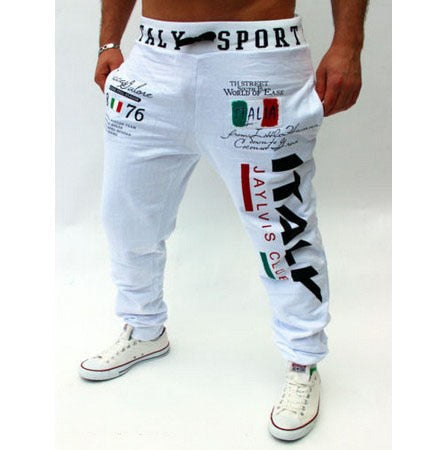 Free shipping casual pants Italian flag printing design casual pants large size high quality-geekbuyig