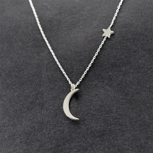 2017 Gold Silver Color Chain Star Moon Choker Necklace For Women Simple Chocker Necklaces collar collier ras du cou Jewelry-geekbuyig