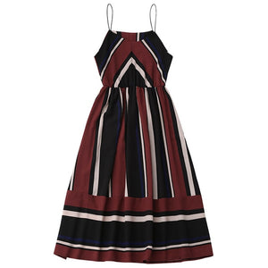 AZULINA Casual Striped Beach Dress Women Sexy Sleeveless Spaghetti Strap Midi A Line Summer Party Dress 2018 Sundress Vestidos-geekbuyig