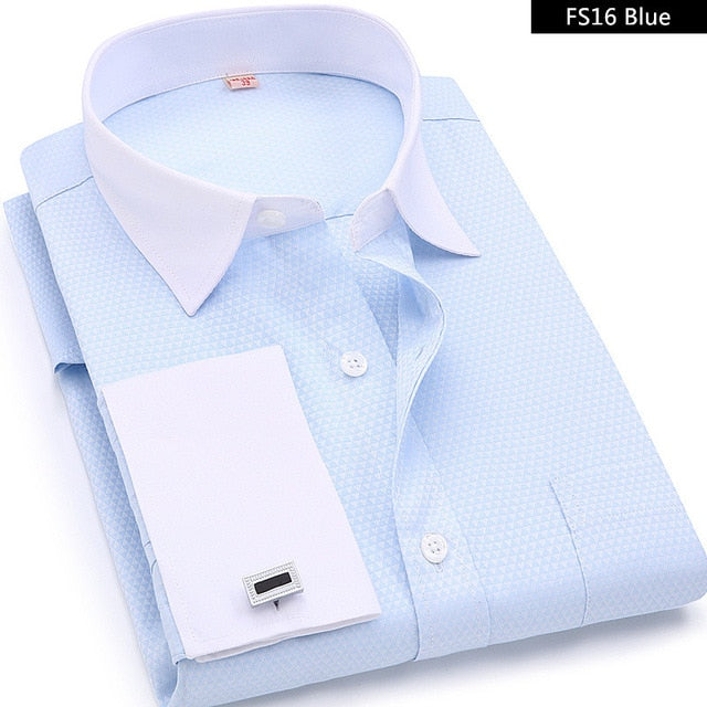 Men French Cufflinks Shirts White Collar Design Solid Color Jacquard Fabric Male Gentleman Dress Long Sleeves Shirt-geekbuyig