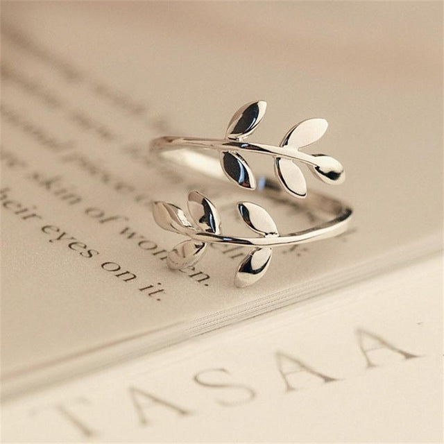 Charms Two colors Olive Tree Branch Leaves Open Ring for Women Girl Wedding Rings Adjustable Knuckle Finger Jewelry Xmas-geekbuyig