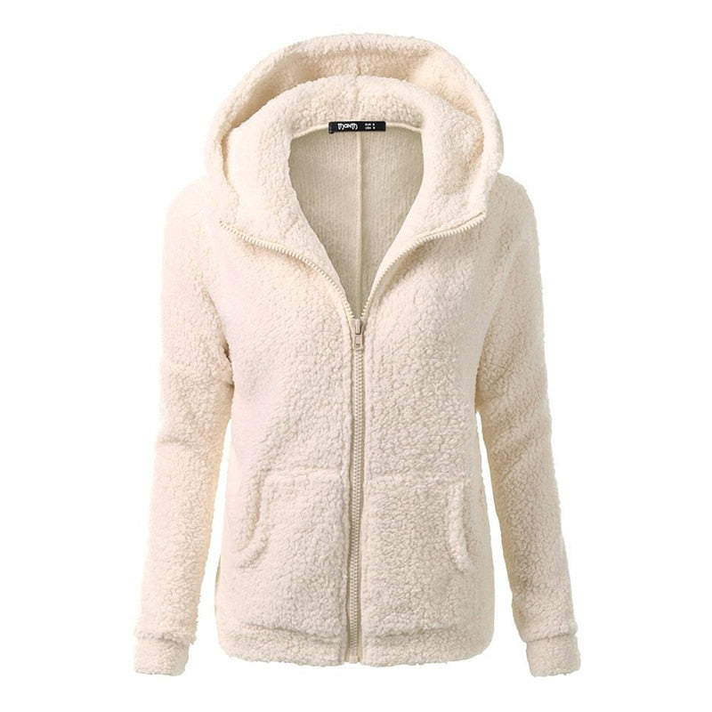Autumn Winter Women Hoodies Fleece Hooded Long Sleeve Zipper Thicken Coat Outwear Sudaderas Jacket Sweatshirts Lady NQ930837-geekbuyig