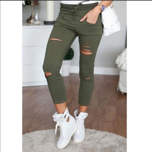 Womens Ladies Stretch Faded Ripped Slim Fit Skinny Casual Slim Denim Jeans Size UK 6 8 12 14 Three Colors-geekbuyig