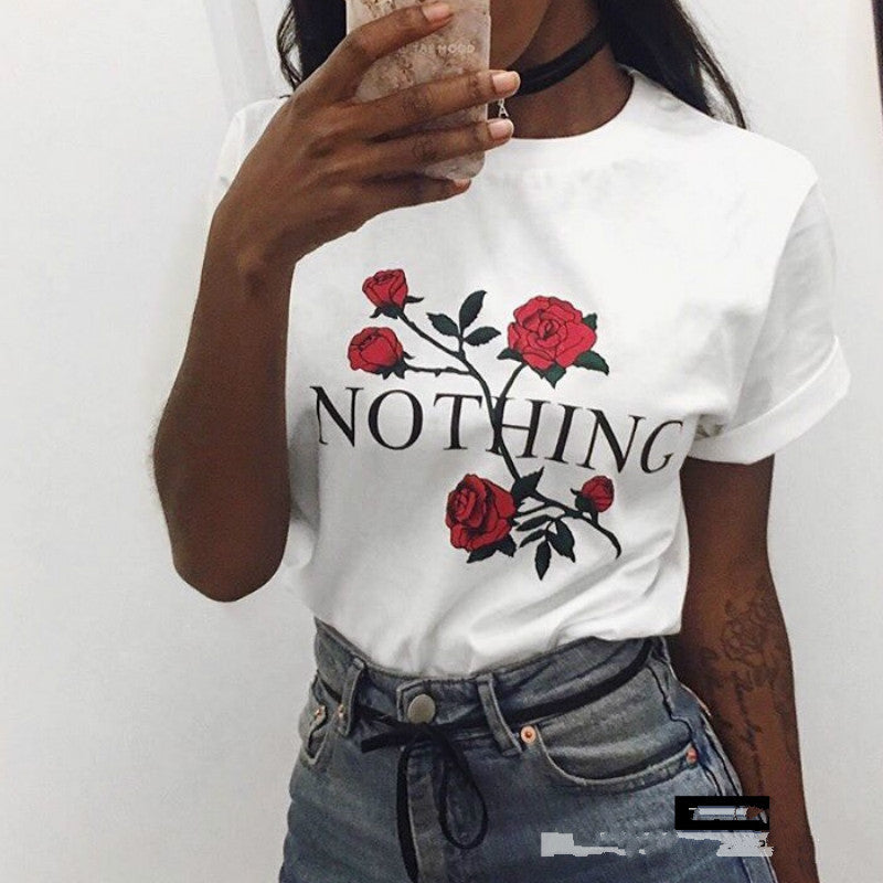 [100% Cotton] 2017 Summer T-Shirt Women Fashion White Nothing Letter Print Rose Casual Knitwear Short Sleeve Punk Tees Shirt-geekbuyig