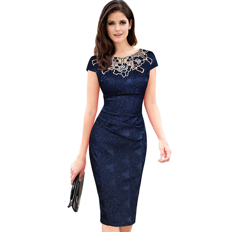 Women Elegant Crochet Lace Embroidery Flower Casual Party Evening Mother of Bride Special Occasion Bodycon One Piece Dress Suit-geekbuyig