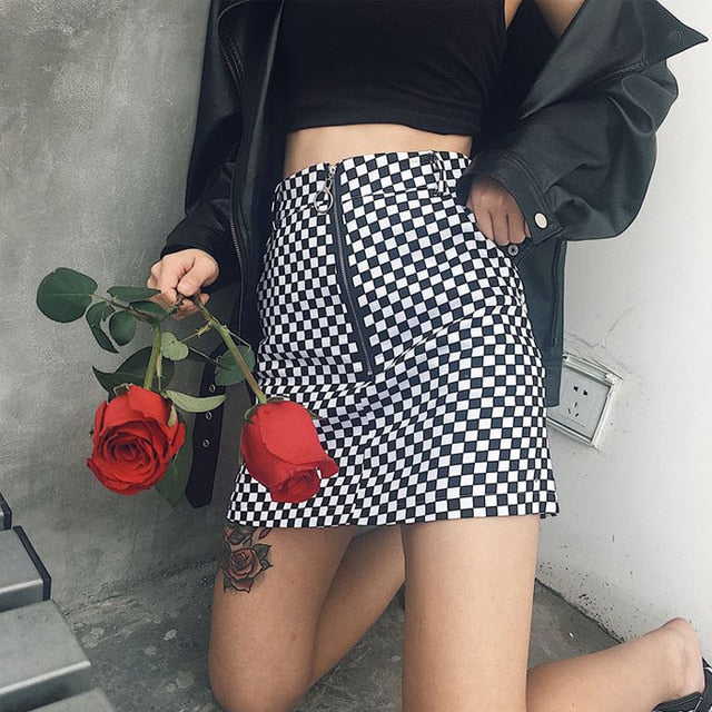 New Casual Summer Women Japanese Style Zipper Ring A-line High Waist Mini Skirts Female Black White Checkerboard Plaid Skirts-geekbuyig